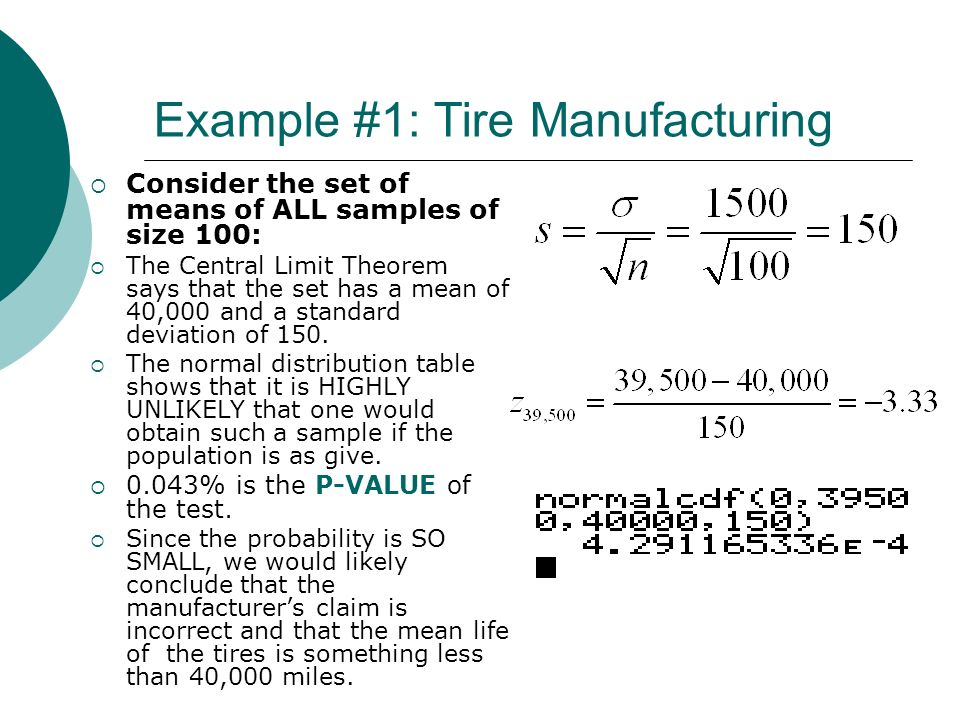 Example #1: Tire Manufacturing Consider the set of means of ALL samples of size 100: The Central Limit Theorem says that the set has a mean of 40,000