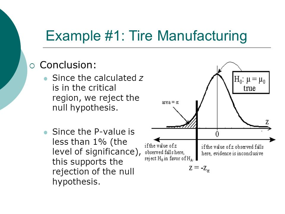 Example #1: Tire Manufacturing Conclusion: Since the calculated z is in the critical region, we reject the null hypothesis. Since the P-value is less