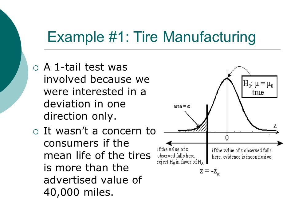 Example #1: Tire Manufacturing A 1-tail test was involved because we were interested in a deviation in one direction only. It wasnt a concern to consu