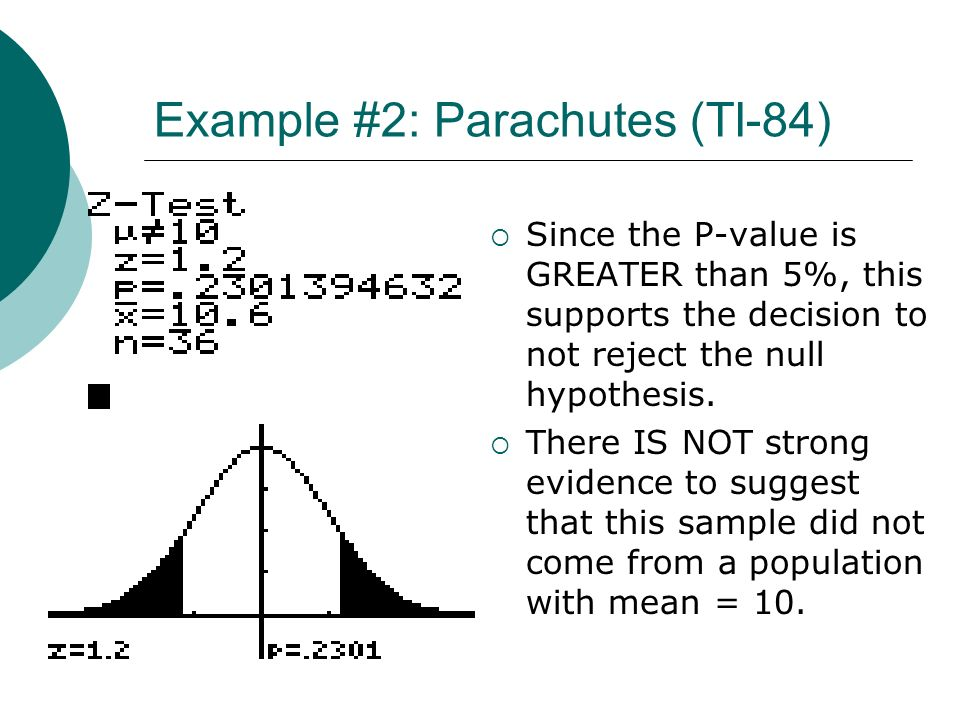 Example #2: Parachutes (TI-84) Since the P-value is GREATER than 5%, this supports the decision to not reject the null hypothesis. There IS NOT strong