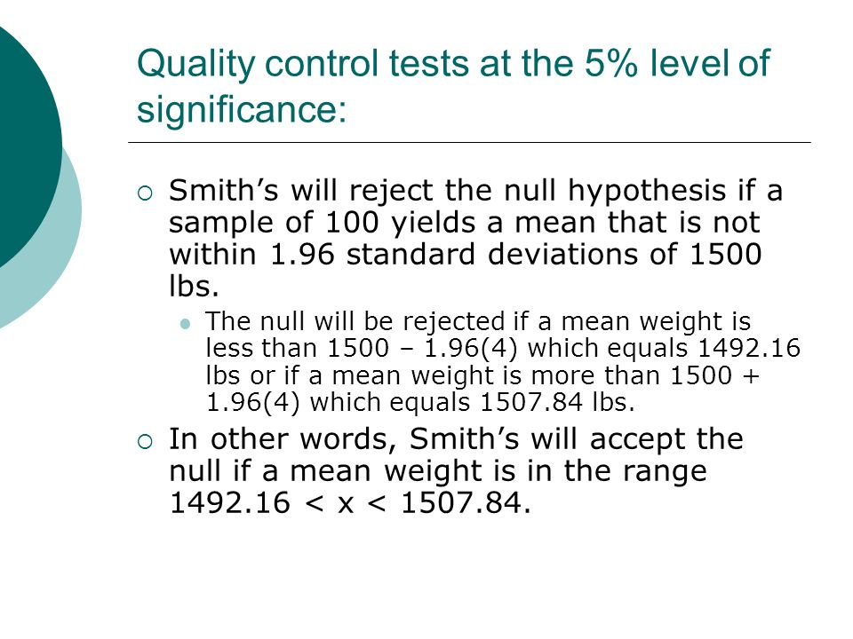 Quality control tests at the 5% level of significance: Smiths will reject the null hypothesis if a sample of 100 yields a mean that is not within 1.96