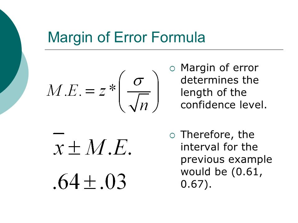 Find sample size using margin of error Suppose we want a 95% C.I.