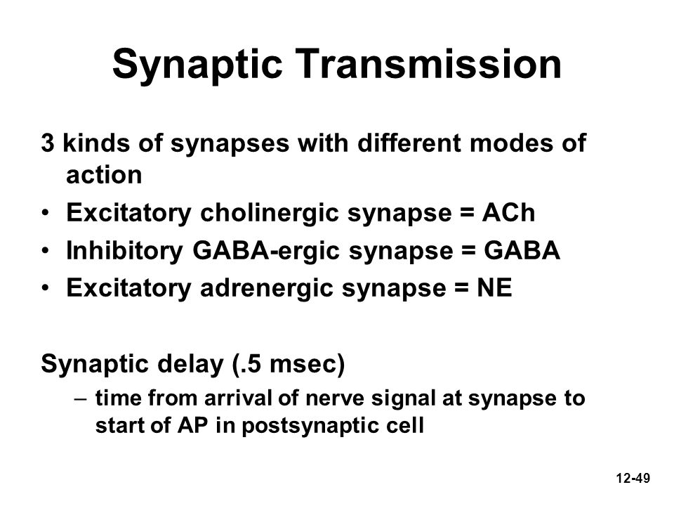 12-49 Synaptic Transmission 3 kinds of synapses with different modes of action Excitatory cholinergic synapse = ACh Inhibitory GABA-ergic synapse = GA