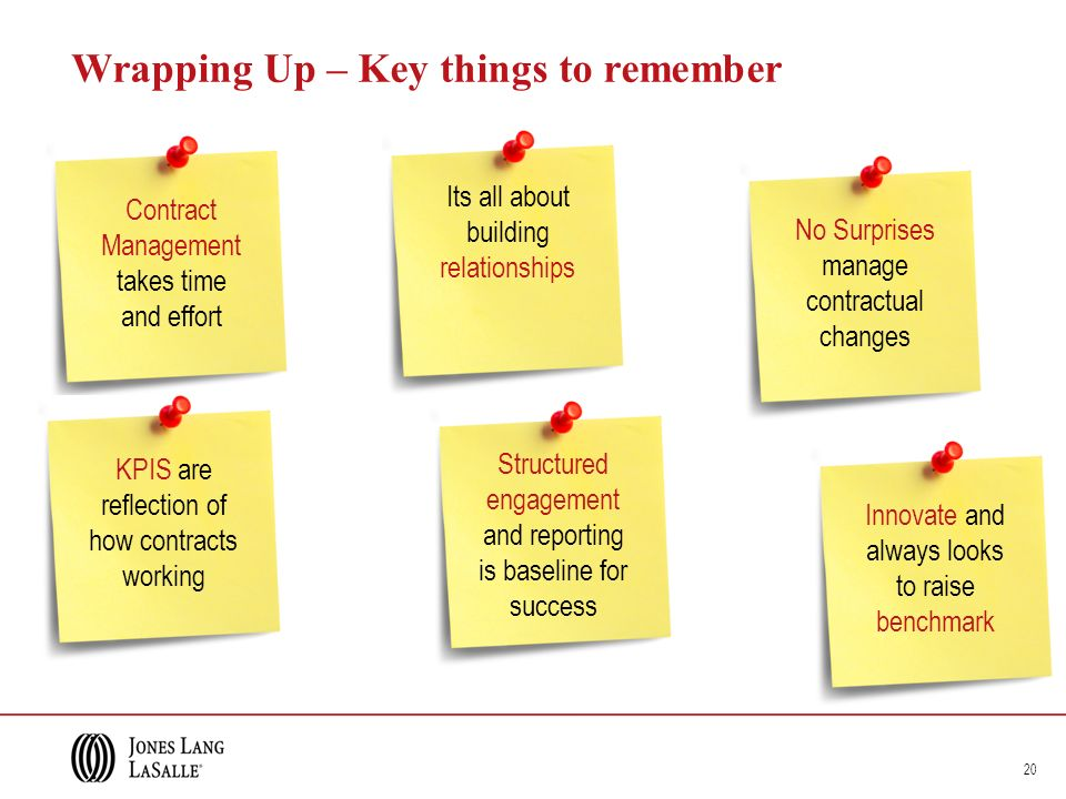 Wrapping Up – Key things to remember 20 Structured engagement and reporting is baseline for success No Surprises manage contractual changes Innovate and always looks to raise benchmark Contract Management takes time and effort Its all about building relationships KPIS are reflection of how contracts working