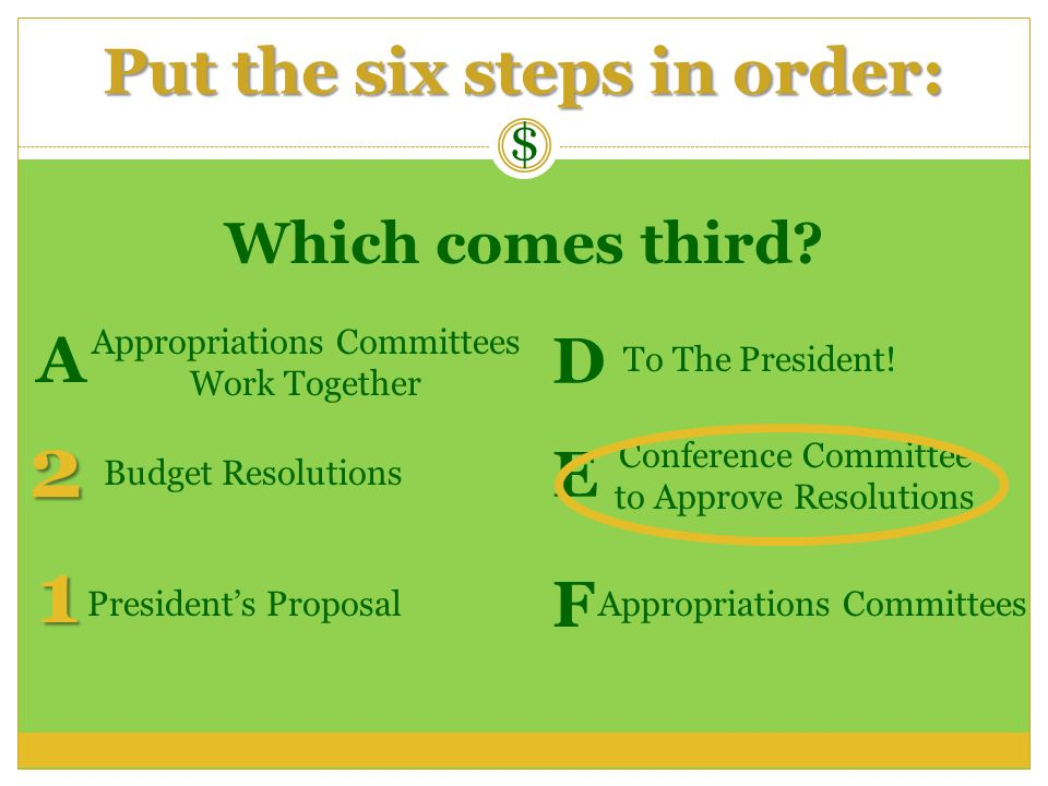$ Which comes third? Conference Committee to Approve Resolutions Appropriations Committees Work Together To The President! Appropriations CommitteesPr