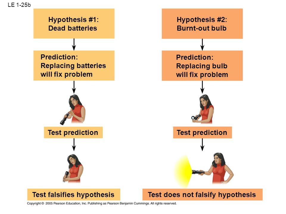 LE 1-25a Hypothesis #1: Dead batteries Hypothesis #2: Burnt-out bulb Observations Question