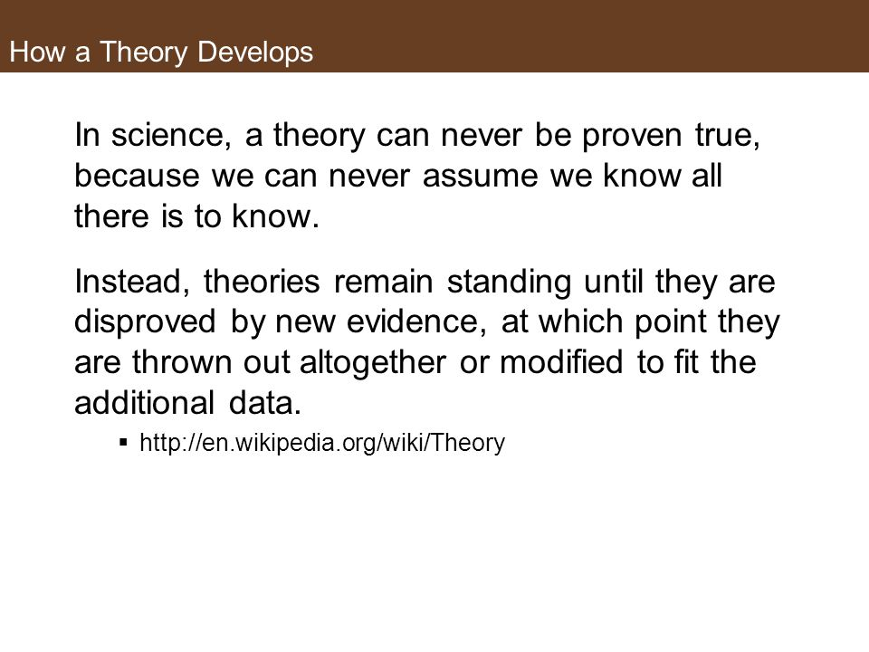 How a Theory Develops Is there a process to developing a theory? A hypothesis or set of hypotheses have been tested – repeatedly and by ideally differ