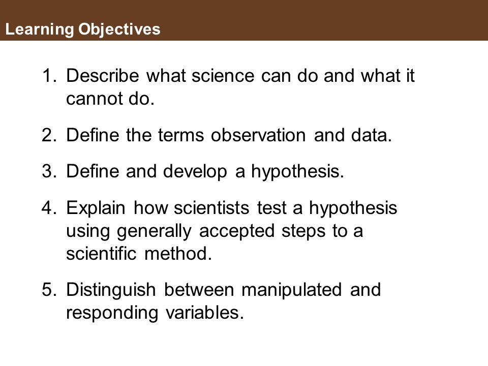 Key Concepts 1.Science as a means of understanding the natural word 2.Scientific method 3.Designing a Controlled Experiment 4.Statistics (Chi Square T