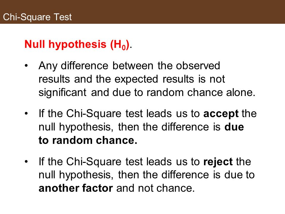 Chi-Square Test Remember what the Chi-Square test is: A statistical test that compares data collected in an experiment (observed) to data that was pre