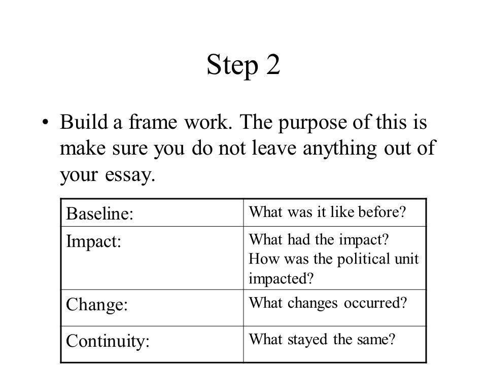Step 2 Build a frame work. The purpose of this is make sure you do not leave anything out of your essay. Baseline: What was it like before? Impact: Wh