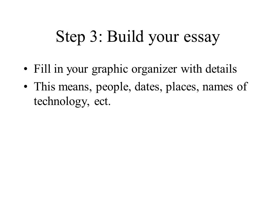 Step 3: Build your essay Fill in your graphic organizer with details This means, people, dates, places, names of technology, ect.