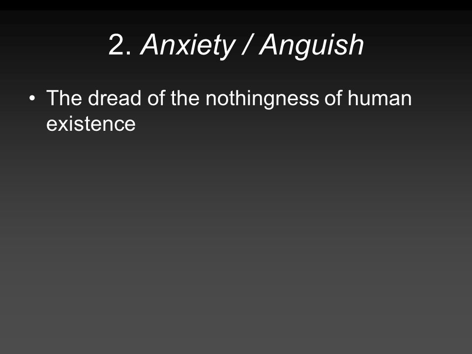 2. Anxiety / Anguish The dread of the nothingness of human existence