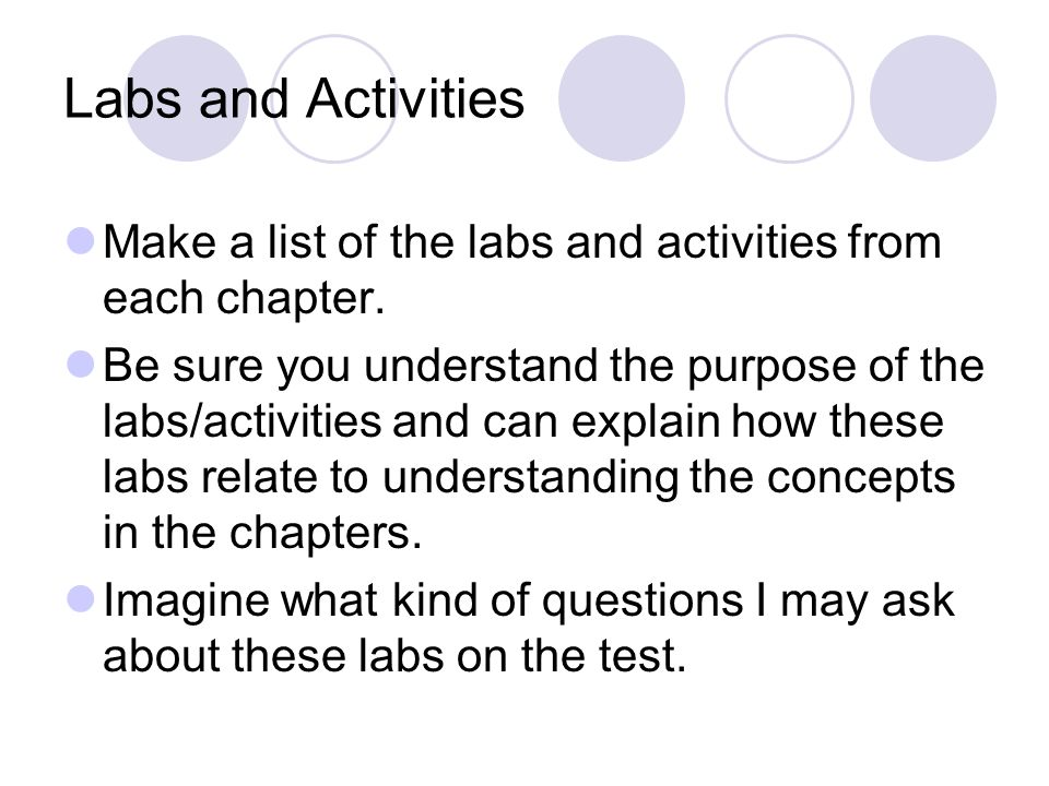 Labs and Activities Make a list of the labs and activities from each chapter. Be sure you understand the purpose of the labs/activities and can explai