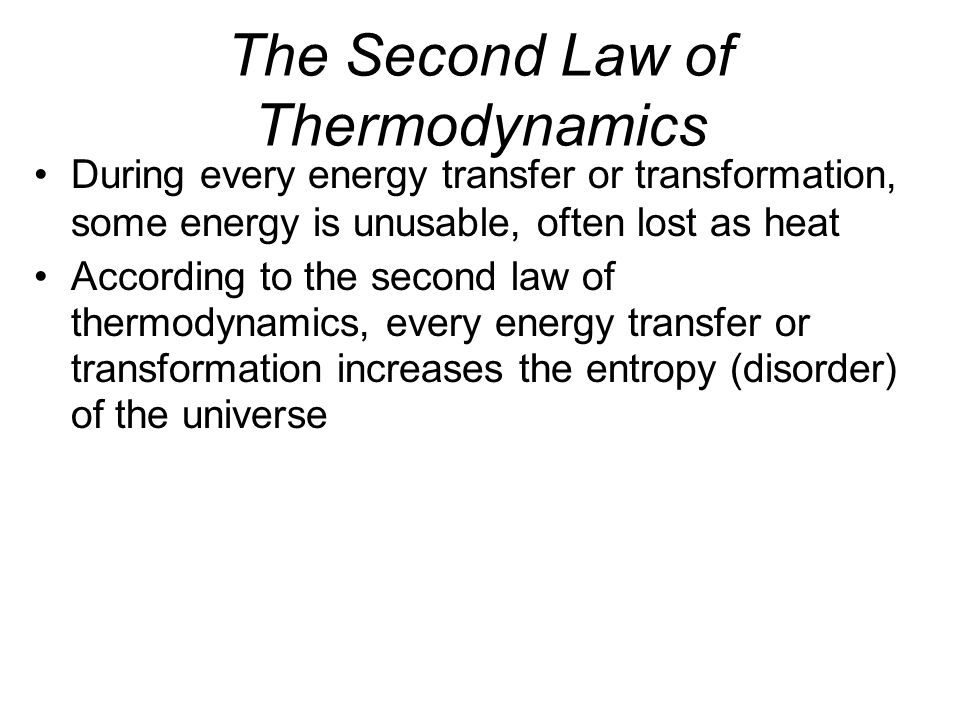 The First Law of Thermodynamics According to the first law of thermodynamics, the energy of the universe is constant –Energy can be transferred and tr