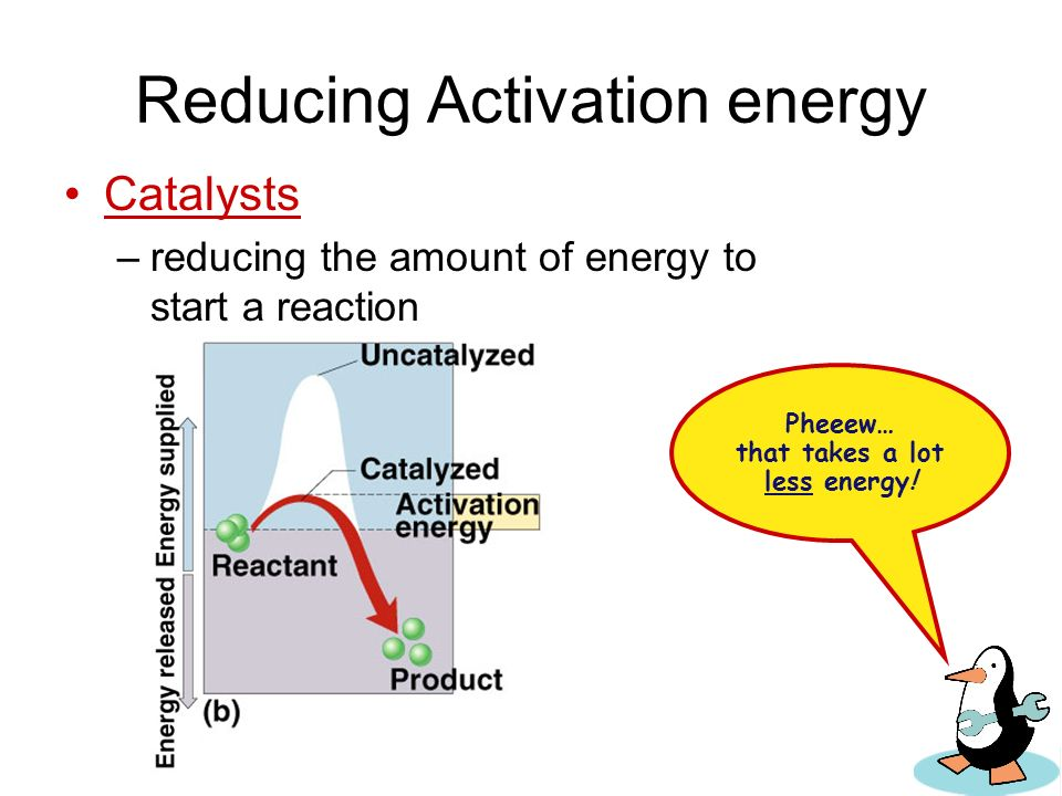 Too much activation energy for life The amount of energy needed to destabilize the bonds of a molecule –moves the reaction over an energy hill Not a m