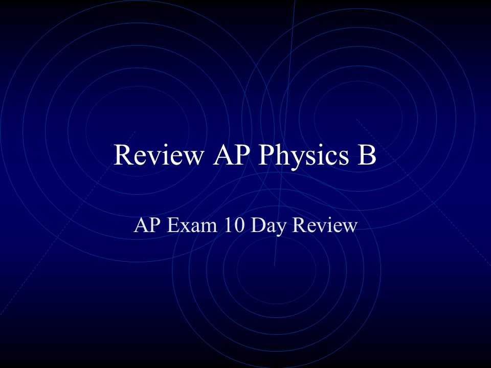 Review AP Physics B AP Exam 10 Day Review