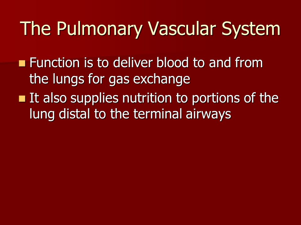 The Pulmonary Vascular System Function is to deliver blood to and from the lungs for gas exchange Function is to deliver blood to and from the lungs f