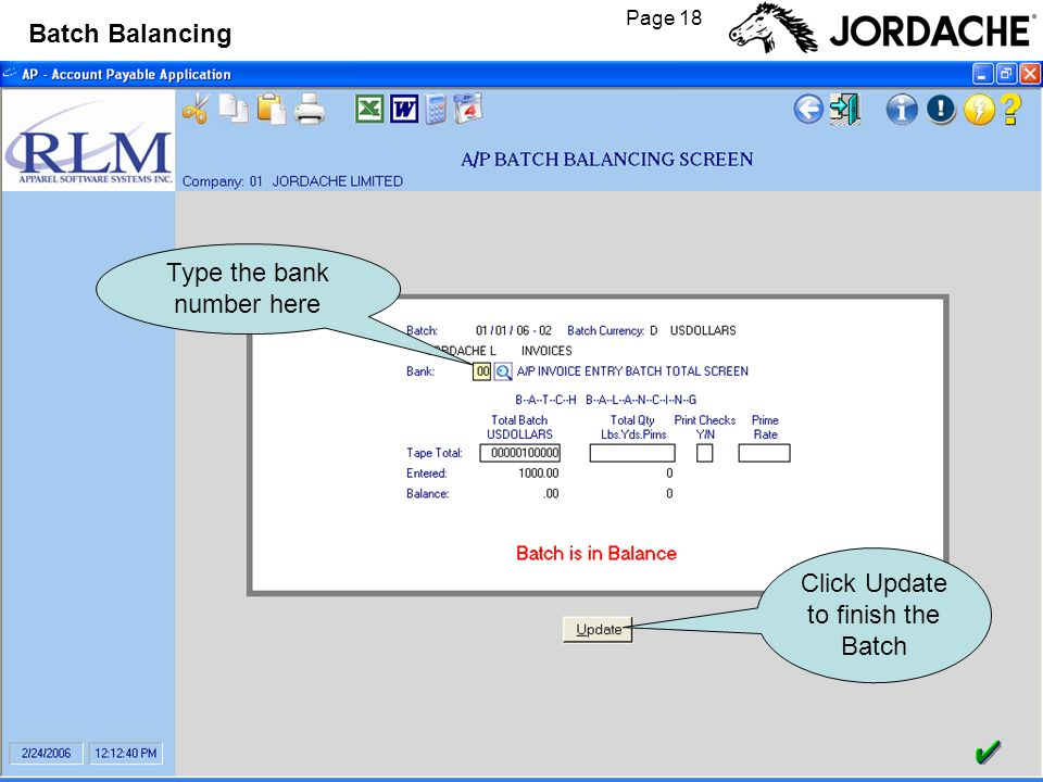 Page 18 Batch Balancing Type the bank number here Click Update to finish the Batch