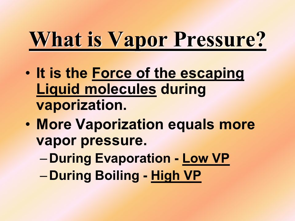 Whats the VP & AP Water is boiling at 96.5 o C The VP is About 670 mm of Hg The AP is the same as VP since the water is boiling: About 670 mm of Hg