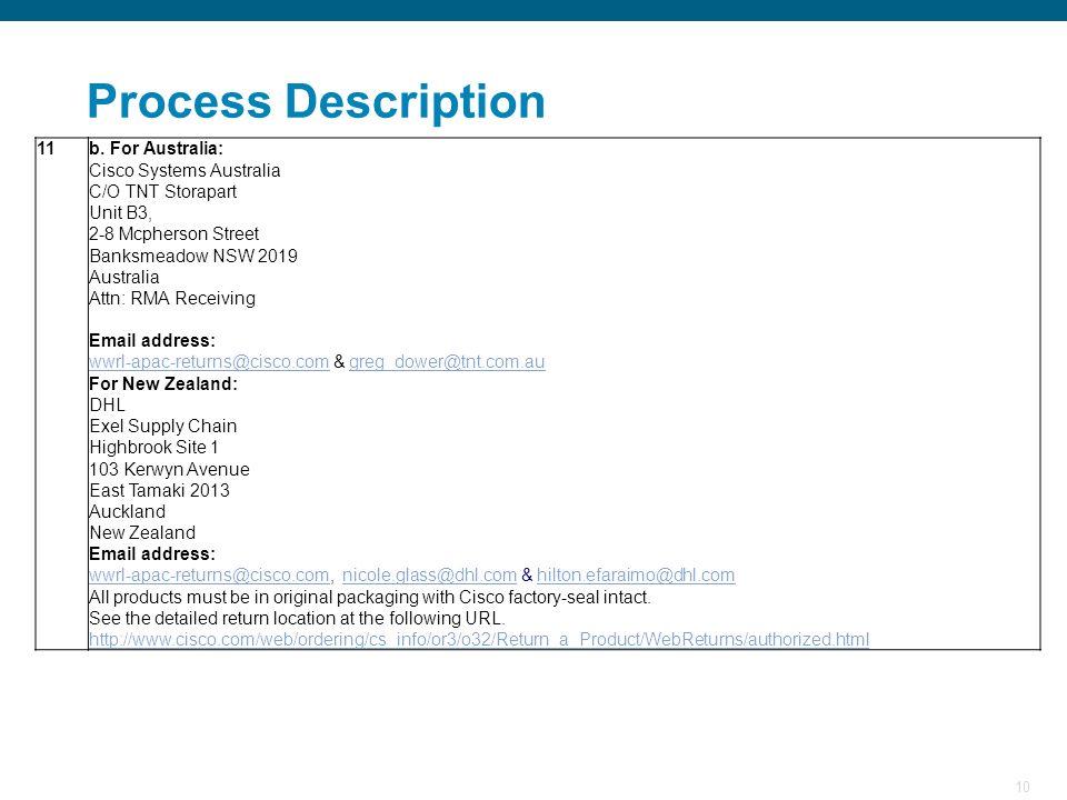 10 Process Description 11b. For Australia: Cisco Systems Australia C/O TNT Storapart Unit B3, 2-8 Mcpherson Street Banksmeadow NSW 2019 Australia Attn