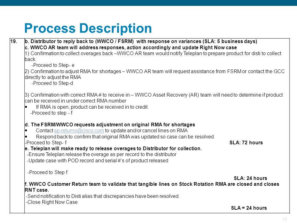 13 Process Description 19.b. Distributor to reply back to (WWCO / FSRM) with response on variances (SLA: 5 business days) c. WWCO AR team will address