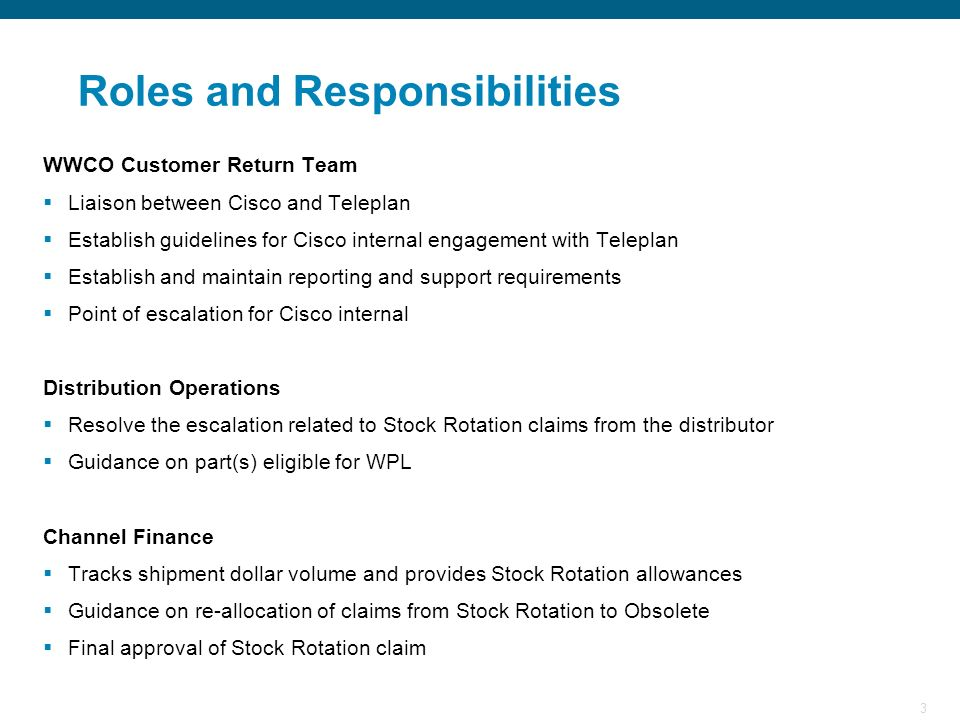 3 WWCO Customer Return Team Liaison between Cisco and Teleplan Establish guidelines for Cisco internal engagement with Teleplan Establish and maintain