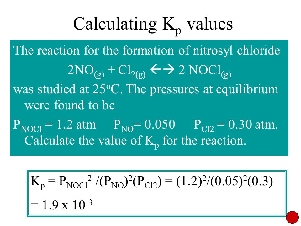 Calculating K p values The reaction for the formation of nitrosyl chloride 2NO (g) + Cl 2(g) 2 NOCl (g) was studied at 25 o C. The pressures at equili