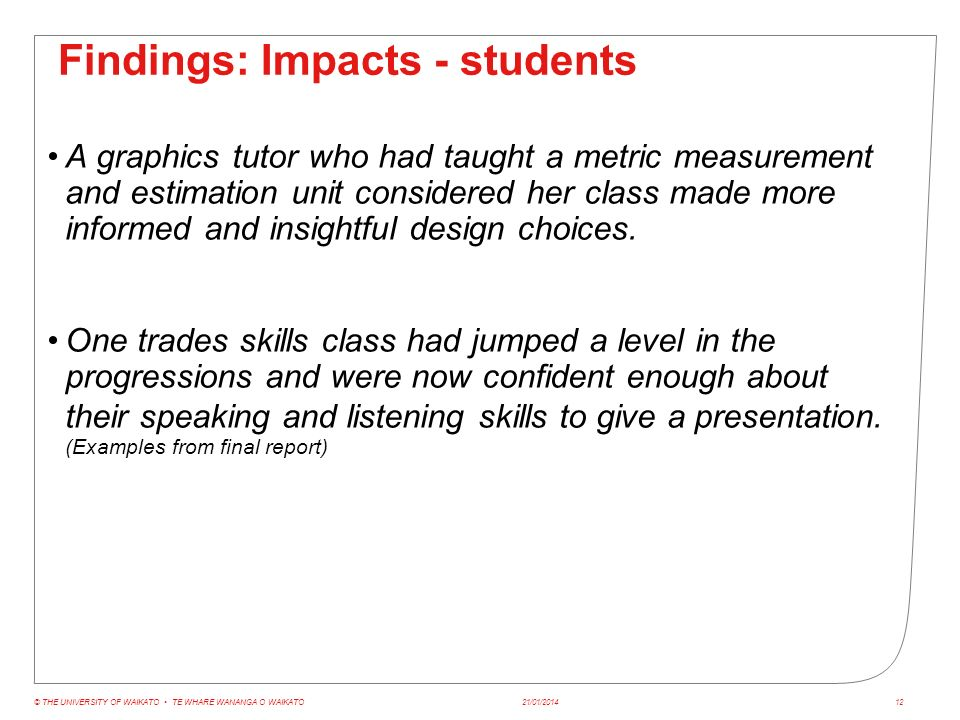 Findings: Impacts - students A graphics tutor who had taught a metric measurement and estimation unit considered her class made more informed and insightful design choices.