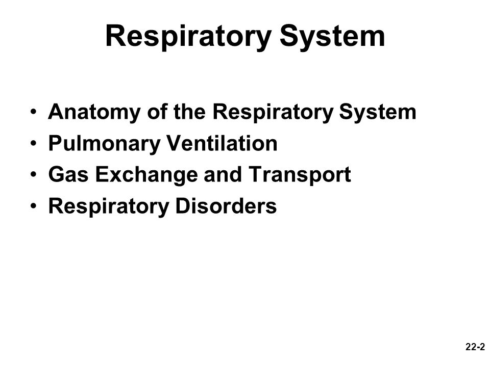 22-2 Respiratory System Anatomy of the Respiratory System Pulmonary Ventilation Gas Exchange and Transport Respiratory Disorders