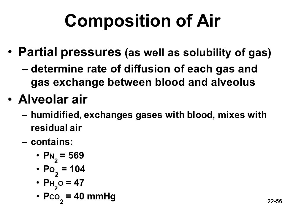 22-56 Composition of Air Partial pressures (as well as solubility of gas) –determine rate of diffusion of each gas and gas exchange between blood and