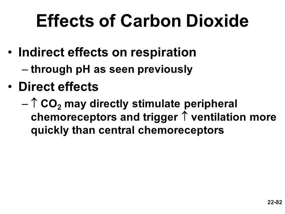 22-82 Effects of Carbon Dioxide Indirect effects on respiration –through pH as seen previously Direct effects – CO 2 may directly stimulate peripheral