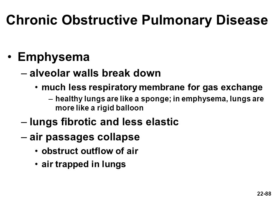 22-88 Chronic Obstructive Pulmonary Disease Emphysema –alveolar walls break down much less respiratory membrane for gas exchange –healthy lungs are li