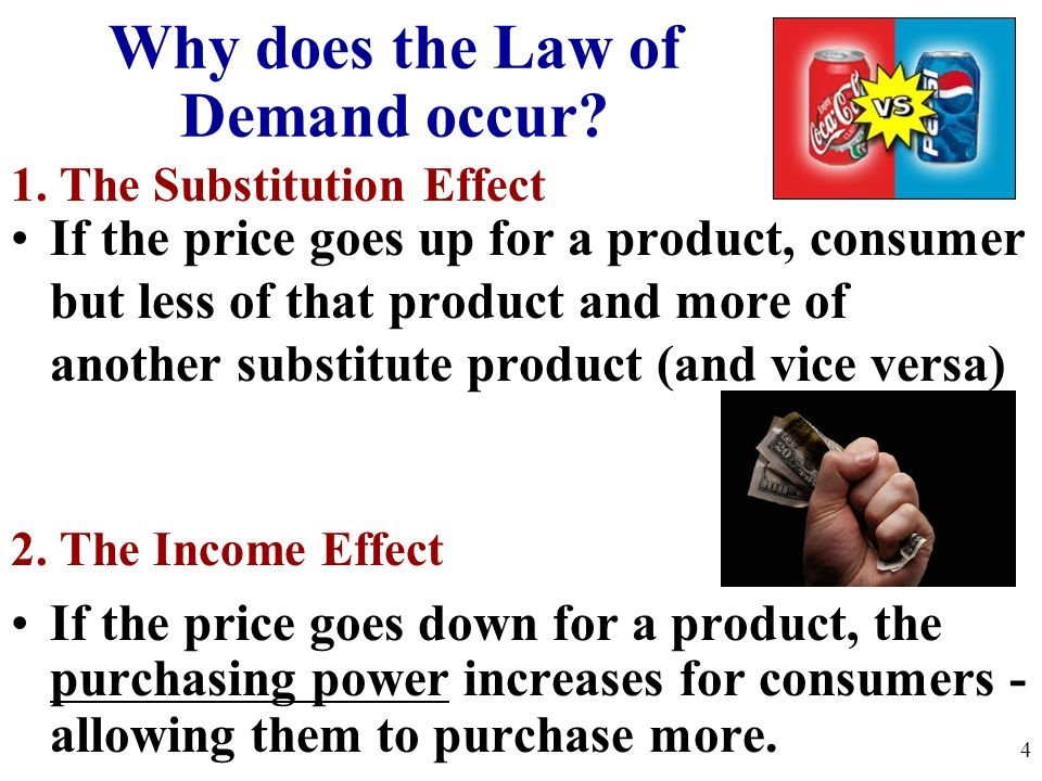 If the price goes up for a product, consumer but less of that product and more of another substitute product (and vice versa) 1. The Substitution Effe