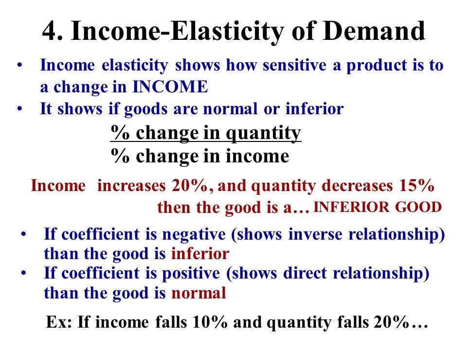 Income elasticity shows how sensitive a product is to a change in INCOME It shows if goods are normal or inferior % change in income % change in quant