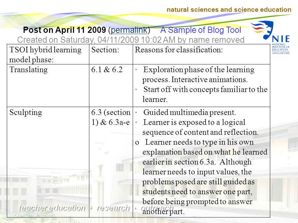 natural sciences and science education teacher education research outreach TSOI Hybrid Learning Model & © 2005 Dr.Tsoi Mun Fie (Advanced from Science