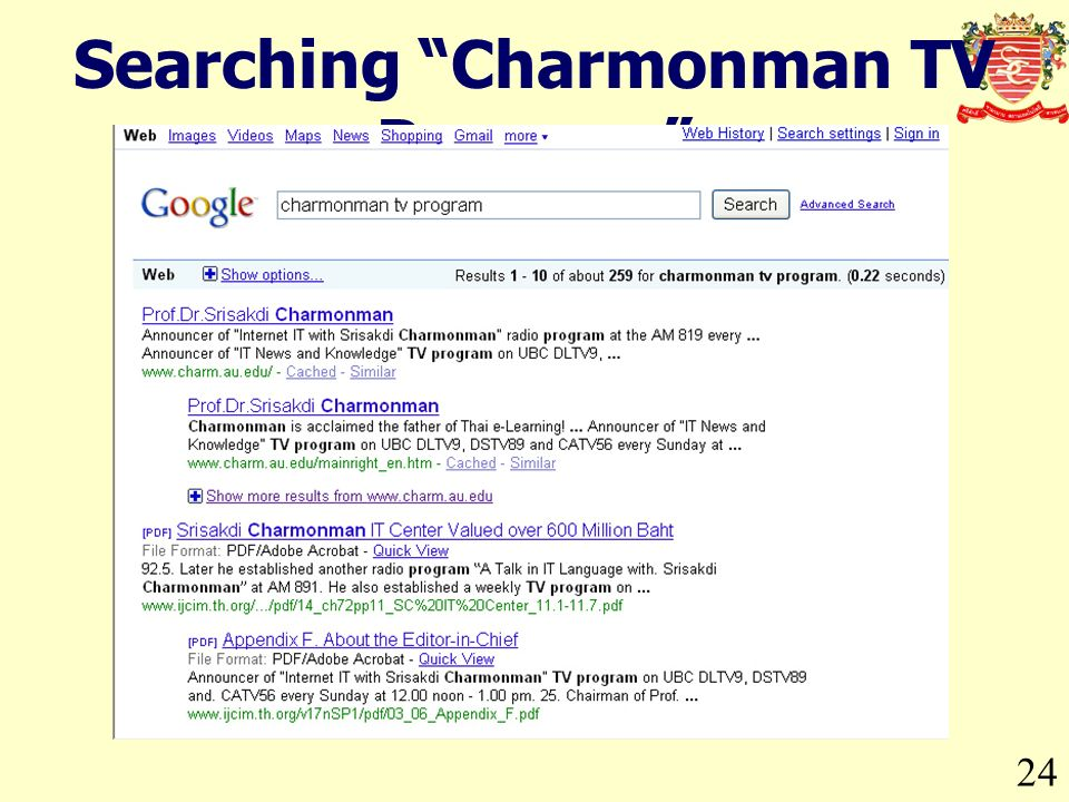 24 Searching Charmonman TV Program
