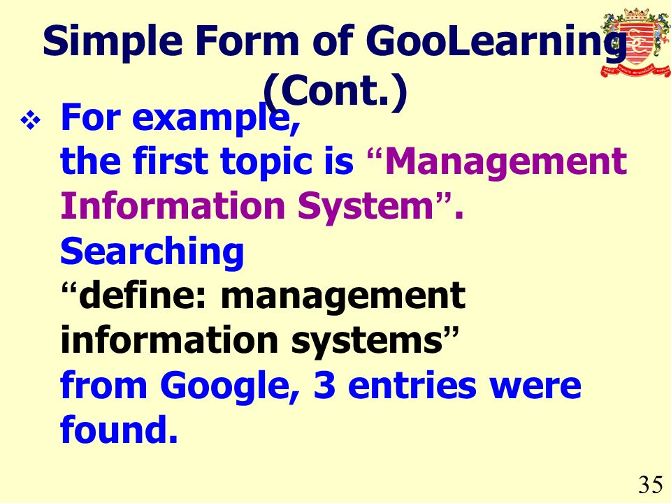 For example, the first topic is Management Information System.