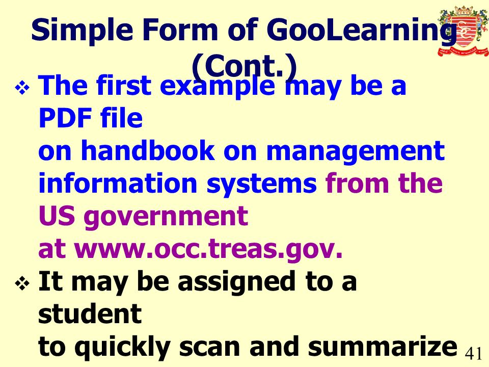The first example may be a PDF file on handbook on management information systems from the US government at www.occ.treas.gov.