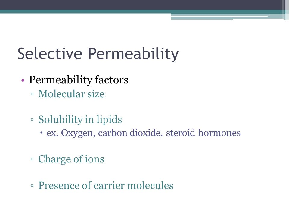 Selective Permeability Permeability factors Molecular size Solubility in lipids ex. Oxygen, carbon dioxide, steroid hormones Charge of ions Presence o