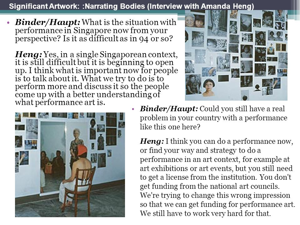 Binder/Haupt: What is the situation with performance in Singapore now from your perspective? Is it as difficult as in 94 or so? Heng: Yes, in a single