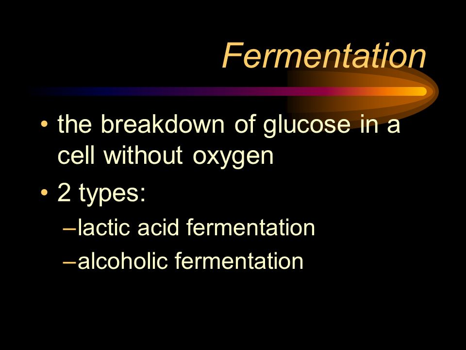 Fermentation the breakdown of glucose in a cell without oxygen 2 types: –lactic acid fermentation –alcoholic fermentation