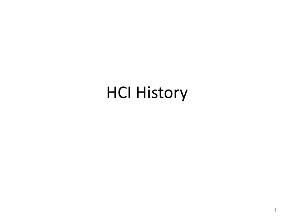 HCI History 1