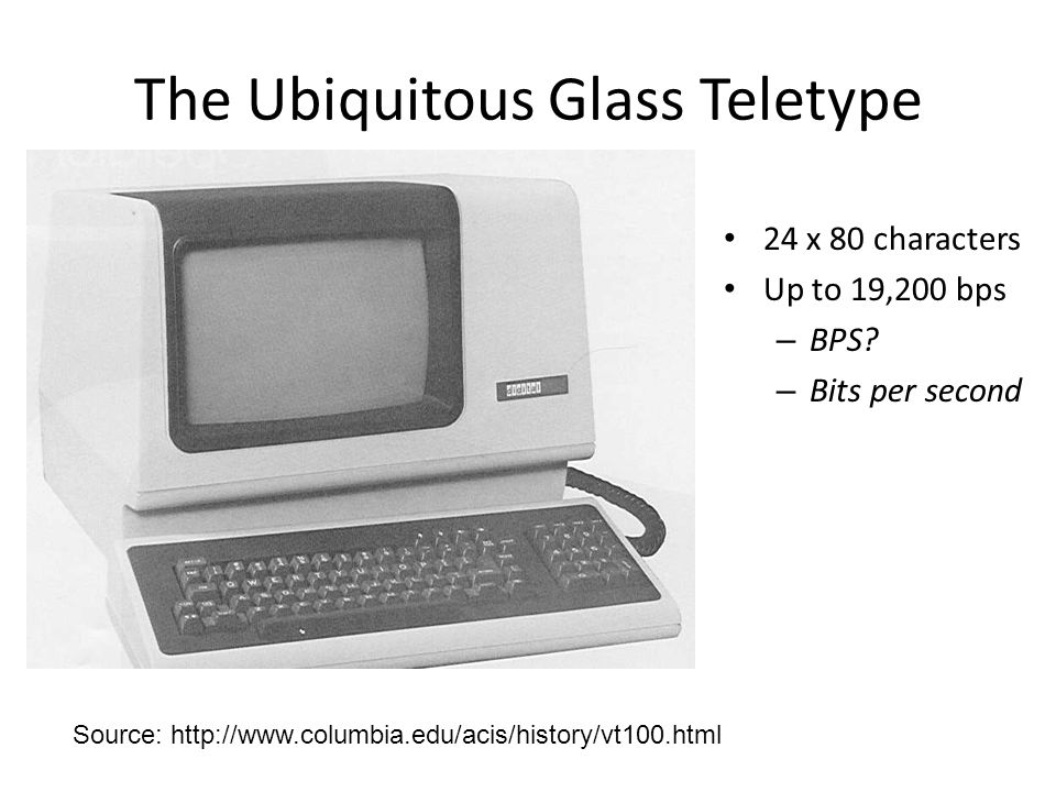 The Ubiquitous Glass Teletype 24 x 80 characters Up to 19,200 bps – BPS? – Bits per second Source: http://www.columbia.edu/acis/history/vt100.html
