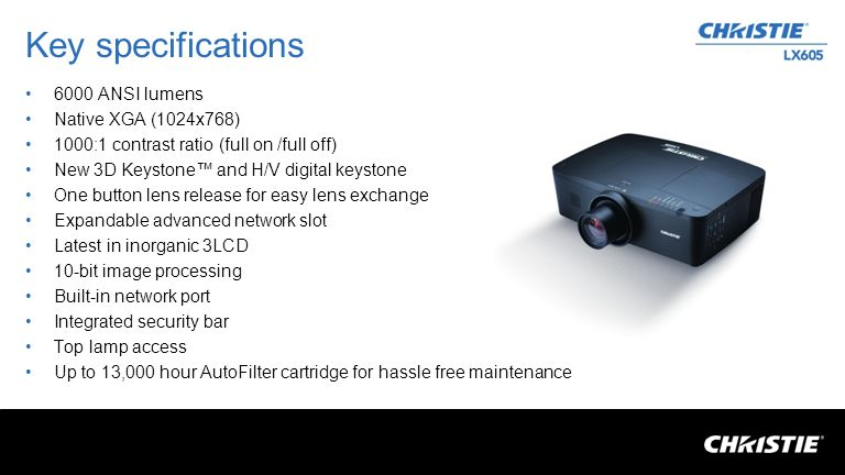 Key specifications 6000 ANSI lumens Native XGA (1024x768) 1000:1 contrast ratio (full on /full off) New 3D Keystone and H/V digital keystone One butto