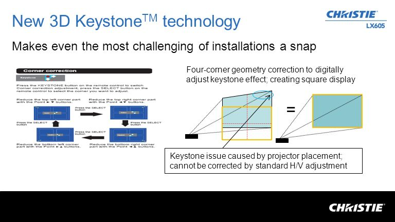 New 3D Keystone TM technology Makes even the most challenging of installations a snap Keystone issue caused by projector placement; cannot be corrected by standard H/V adjustment Four-corner geometry correction to digitally adjust keystone effect; creating square display =