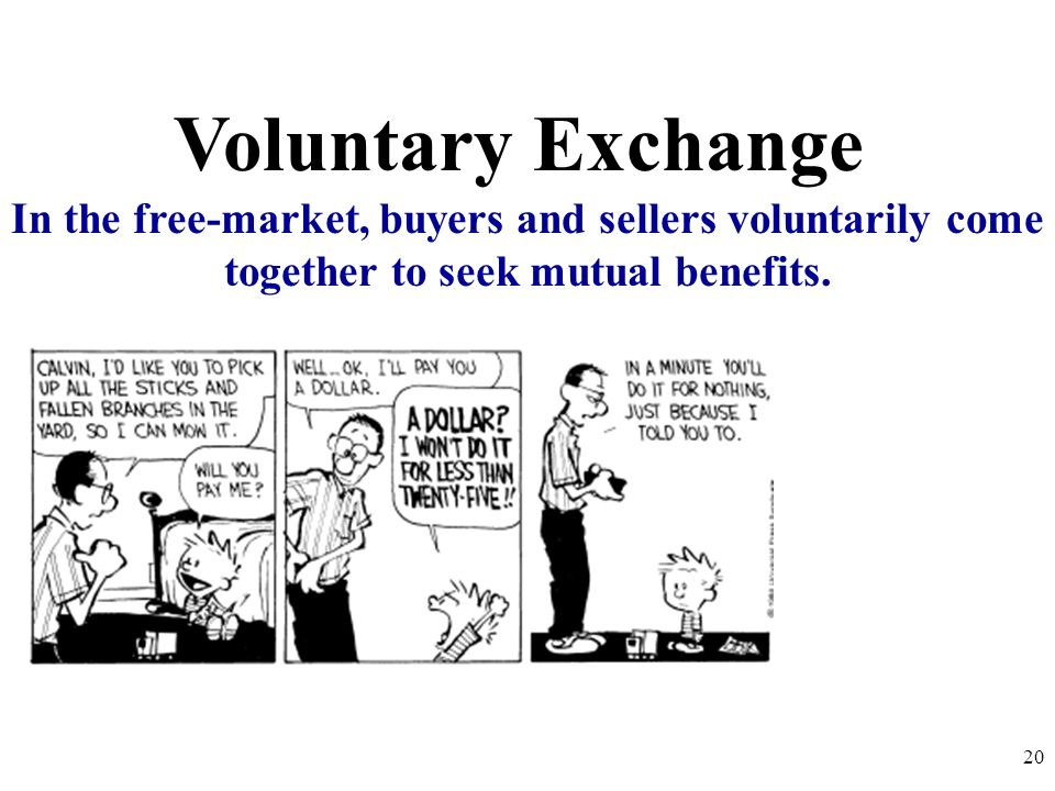 Voluntary Exchange In the free-market, buyers and sellers voluntarily come together to seek mutual benefits. 20