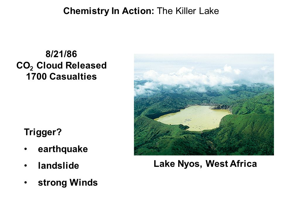 Chemistry In Action: The Killer Lake Lake Nyos, West Africa 8/21/86 CO 2 Cloud Released 1700 Casualties Trigger? earthquake landslide strong Winds