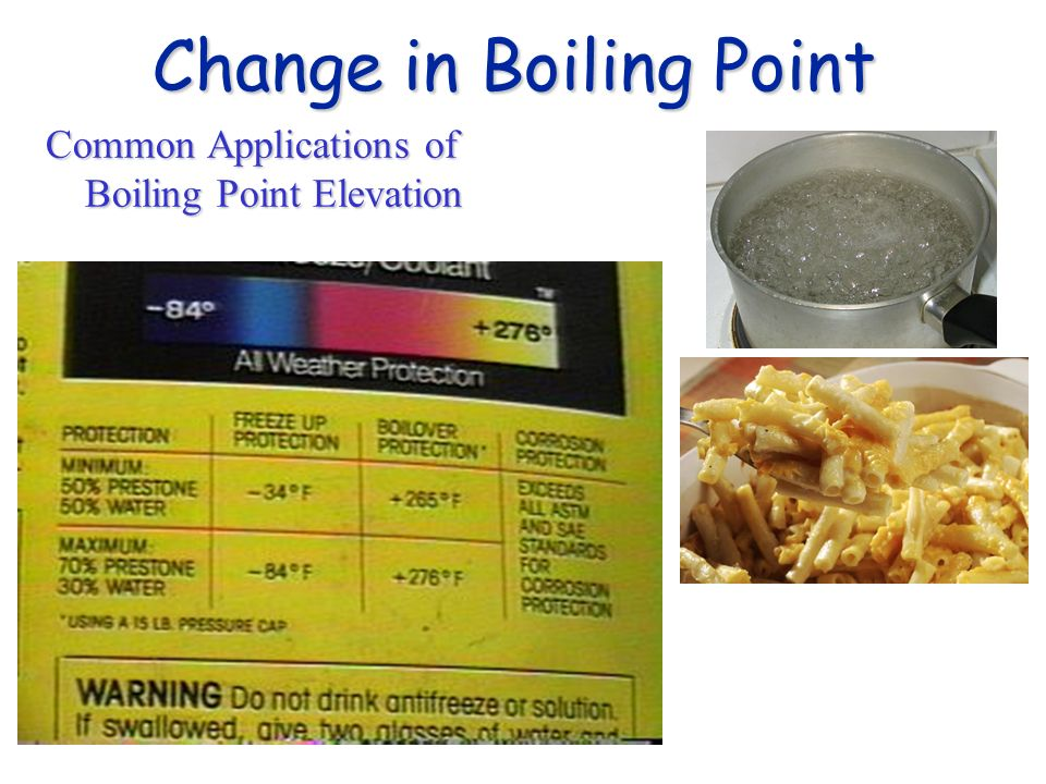 Change in Boiling Point Common Applications of Boiling Point Elevation
