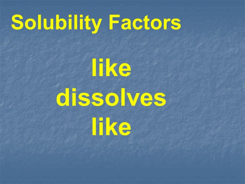 Solubility Factors like dissolves like