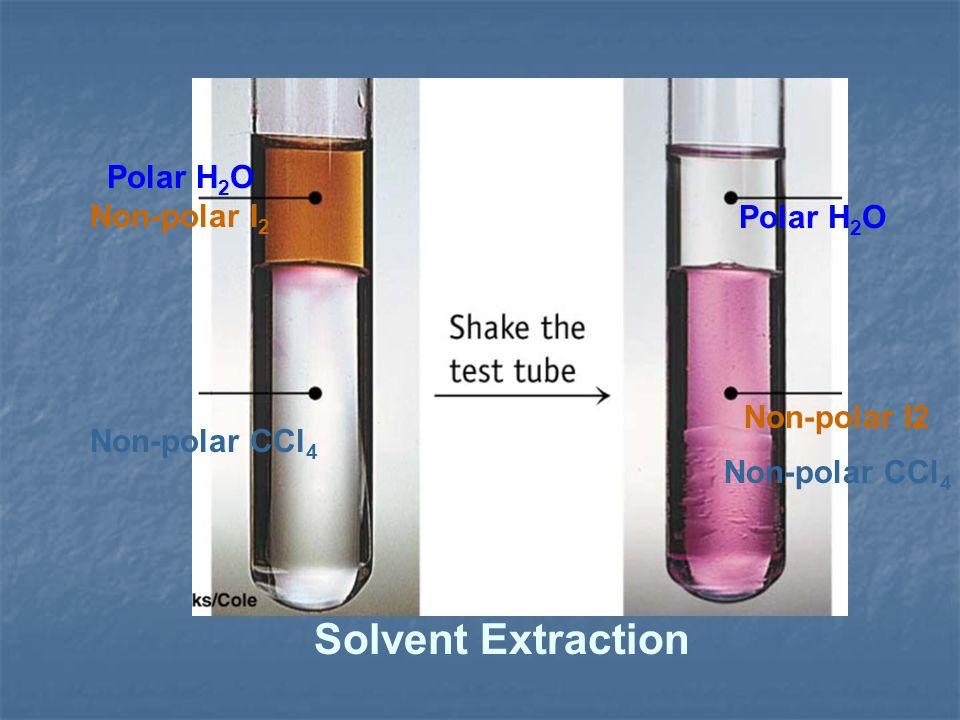 Polar H 2 O Non-polar I 2 Non-polar CCl 4 Polar H 2 O Non-polar I2 Non-polar CCl 4 Solvent Extraction